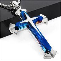 Crucifijo Cruz Collar Colgante Pulsera Azul / Negro Pistola Plateada / Acero Inoxidable Moda Joyería Religiosa Para Mujeres / Hombres Collar de la Fe