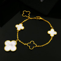 316L Stainless steel bracelet with 5pcs flower white shell a...