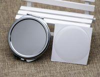 Круглый компактный зеркал Blank + эпоксидная стикер Dia 51mm DIY пустое компактное зеркало # 18032-1 5 шт. / Лот небольшой пробный заказ