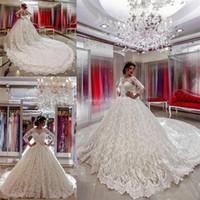 Arabe Pays occidental Robes de mariée train chapelle Bouton couvert de luxe New Vintage à manches longues en dentelle de mariage robe de bal Bow Sash