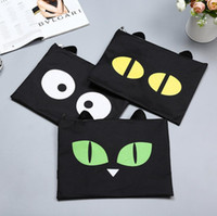 كارتون حقائب اليد وثيقة لطيف الكرتون القطط السوداء تصميم أكسفورد a4 ملف الحقائب المدرسية مكتب سستة الايداع الحقائب حامل carpetas