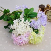 """Gefälschte Single Stem Hydrangea 65cm / 25.59 """"Länge Künstliche Blumen Mini Hortensien Blütenblatt mit 3 Köpfe für DIY Brautstrauß Zubehör"""