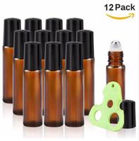 10 ml Rollerflaschen für ätherische Öle Amber Glass Roll on Bottles mit Metall-Roller Balls, inklusive Schlüsselwerkzeug für ätherische Öle