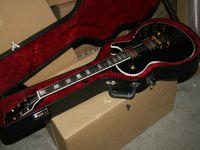 Custom Shop Guitarra Elétrica Ebony Preto com Hardware De Ouro + Estoques em estoque Frete Grátis