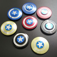 America Captain Shield Fidget Spinner EDC Giocattoli Super Heroes Mano Spinner con R188 Cuscinetto AL in lega Decompression Finger Gyro Toys DHL gratis