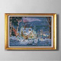 La nuit neigeuse de Noël, bricolage fait à la main au point de croix Set de couture kits de broderie peintures comptées imprimées sur toile DMC 14CT / 11CT