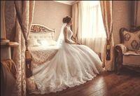 Modelos de manga larga modestos de encaje de cuello alto de cristal, ver a través de la princesa vestido de novia 2016 más tamaño vestidos de novia vestido de novia