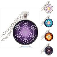Púrpura Metatron Cubo Collar Colgante Geometría Sagrada Joyería Cristal Cabochon Magia Hexagrama Geométrica Collar Flor de Vida Joyería Regalo