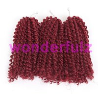 Ombre burgundy Marlybob hair 8 inch 3pcs set Synthetic with ...