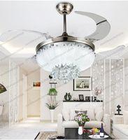 2017 новый европейский простой дизайн Кристалл подвесной светильник 42 дюймов потолочный вентилятор свет лезвия скрытый вентилятор невидимые лезвия потолочные вентиляторы потолочный вентилятор