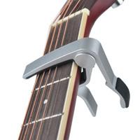 Gitar Capo Toptan Yüksek Kalite Yeni Alüminyum Alaşım Gümüş Capo Gitar Aksesuarları-100 adet