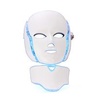 7 colores luz fotón eléctrico LED máscara facial para el cuello piel PDT rejuvenecimiento de la piel anti acné tratamiento de eliminación de arrugas salón de belleza