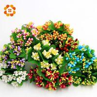 Vente en gros- 10colors mousse artificielle étamine bouquet de fleurs bouquet tige / pour Scrapbooking décoration de boîte de mariage 10pcs / lot