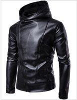 Chaqueta de cuero PU Diseño de color sólido negro Bolsillos con cremallera inclinada Manga larga con capucha Slim Fit para hombre Motocicleta Jakcets Envío gratis 2017