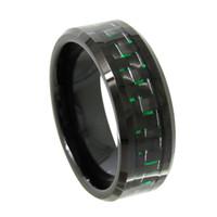 China Fabrik / Hersteller / Hersteller / Anbieter Herren 8mm Schwarz Wolframkarbid Ring Abgeschrägte Kanten mit schwarzem und grünen Kohlefaser Inlay Modeschmuck Fingerring