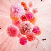 Partihandel-4PC 10 tum (25cm) Dekorativ Tissue Paper Pom Poms Flower Ball Wedding Decoration Party Födelsedag Baby Shower Birthday