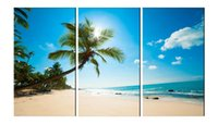YIJIAHE Landscape Print Canvas Painting The Beach in summer ...