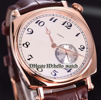 Barato Novos historiques americano 1921 Rose Gold Case 82035 / 000R-9359 Dial Branco Mens relógio Automatic Leather Strap Gents Relógios