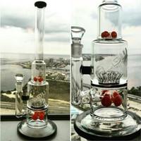 bong in vetro con ingranaggi e cospargere tubi rossi fumatori Recycler Sprinkler Oil Rigs