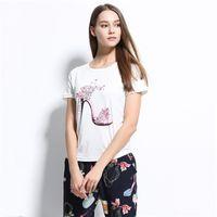 Verão 2017 design de moda t-shirt roupas Sapatos De Salto Alto Kawaii t-shirts para as mulheres topos de culturas das mulheres roupas harajuku pugs ZSIIBO NV51-F