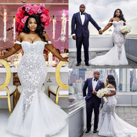 2017 Plus Size African Lace Applique Beads Wedding Dresses O...