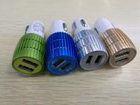 Real Det är 1A dubbel USB-laddare Blå Ljus LED Aluminium Alloy Metal Adapter för Smart Phone 200PCS / Lot