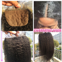 Bleached knots silk base closure kinky straight virgin hair ...