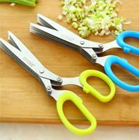 Edelstahl Scissor 5 Schichten Gewürze Cutter Chopped Grüne Zwiebel schneiden Schere Kochen Werkzeug Multifunktions-Küchenmesser