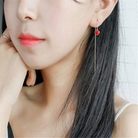 New Silver 925 Long Chain Tassel Earring Red Enamel Hearts S...