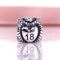 Toptan 925 Ayar Gümüş Doğum Günü Milestone 18 Charm Boncuk Fit Yılan Zincir Bileklik Ve Kolye DIY Moda Takı 791047