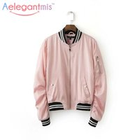 Wholesale- Cool Female Satin Pink Bomber Jacket 2016 Autumn ...