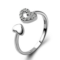 Fashion ring design 925 sterling silver double heart adjusta...
