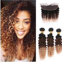 딥 웨이브 인간의 머리카락 레이스 Frontals 1b 4 27 레이스 Frontals와 갈색 금발 버진 인간의 머리 엮여 무료 배송