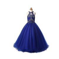 2017 envío libre Vestidos del desfile de las muchachas del halter Vestidos Royal Blue Tulle A-line Cuadros verdaderos Longitud del piso largo Niños Vestidos de fiesta de niña de flores