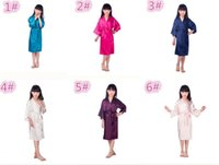 87e55ff0b 60 pcs 6 cores Moda infantil sleepwear infantil Sólida Kimono Robe de Seda  para a Festa