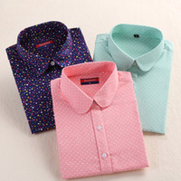 Wholesale- Dioufond 2017 Women Blouses Turn-Down Collar Women Tops Polka Dot Blouse Long Sleeve Shirt Women Camisas Femininas Blouses S-5XL