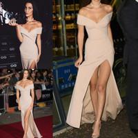 2017 Nuevos Vestidos Formales de Sirena Celebrity de Noche Use Sexy fuera del Hombro Cuello en V Lado Split Vestidos de Fiesta por Encargo Vestido de Champán