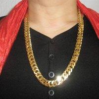 18K золото заполнены N28 кубинский двойной снаряженная цепь твердые тяжелые мужские подарок ожерелье 23,6 дюйма 10 мм