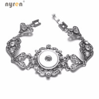 2017 New Silver Love Hearts Rhinestone Charms Bracelet Snap ...