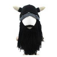Roman Lustige Persönlichkeit Herbst Winter Stricken Big Bart Ox Horn Cap Cosplay Hut Wikinger Ritter Helm Kreative Geschenke versandkostenfrei