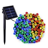 Açık Güneş Paneli Powered 7 Renkler 12 m 22 M Işık 100 LED 200LED Dize Peri Otomatik Bahçe Su Geçirmez Noel Partisi Dekorasyon Lambası