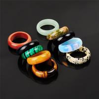 Мужские женские Смешанные Смешанные Случайный Цвет Натуральный Камень Дальматация Джаспер Оникс Тигр Глазная Кольцо Опал Зеленое Авентриновое кольцо для женского