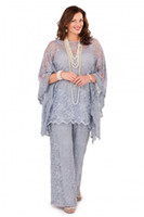Silver Gray Lace Mother of the Bride Pant Suits Long Sleeves...