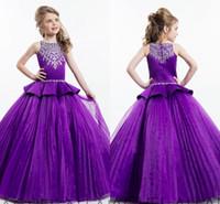 2020 da Bola Rachel Allan roxo vestido de princesa Menina Pageant Vestidos Sparkling frisados Cristais Zipper Voltar Cute Girls Meninas Vestidos