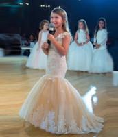 Vestidos de niña de las flores de sirena linda apliques de encaje sin mangas de tul ropa formal para niños Vestidos de fiesta del desfile hermoso