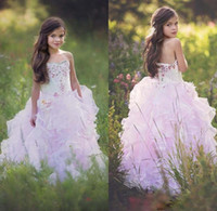 2021 Novo Jardim Princesa Meninas Pageant Vestidos Sweetheart Cristal Flor Menina Vestidos Para Adolescentes Crianças Formal Wear Party Comunhão