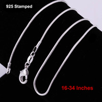 Wholesale 16-34 Inches 12PCS Snake Necklace Chains 1.2MM 925 Sterling Silver Findings DIY Jewelry