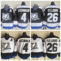 Mens Tampa Bay Lightning Hóquei Jerseys 26 Martin St. Louis 4 Vincent Lecavalier Black Jersey Vintage CCM Costado Cheap Shirts Um Patch