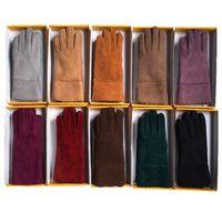 Зима открытый теплый снег перчатки овчины женщины перчатки теплый ветер перчатки мода пять пальцев матовые перчатки