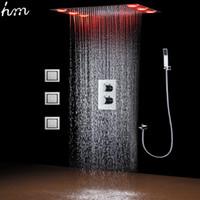 Oprawy łazienkowe LED baterie prysznicowe Zestaw Sufitowy Deszcz Douche Panel Masaż Ciało Spray Spray Spray 4 cal / Termostatyczne Zawór Mieszanek